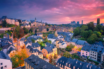 Fototapete - Luxembourg City, Luxembourg. Aerial cityscape image of old town Luxembourg City skyline during beautiful sunrise.