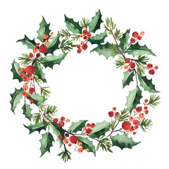 Watercolor wreath arranging of holly leaves, red berries and spruce for Christmas decoration