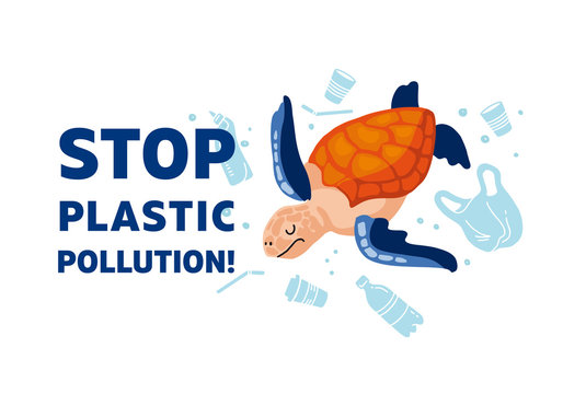 Web template Stop plastic pollution! Vector flat illustration for World Environment Day. A sea turtle swims in sea with garbage - in water are plastic bag, glass, straw, bottle, canisters. Harm to nat