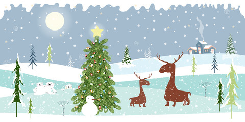 Holiday winter landscape with mountains,snow falling, Christmas tree, snow man, polar bear family, mommy and son reindeers,Merry Christmas landscape background, Vector illustration