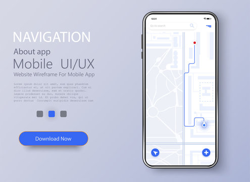 Material Design UI, UX Screen, flat web icons for mobile apps. Dashboard theme creative infographic of city map navigation. Vector illustration