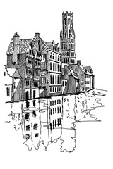 Wall Mural - vector sketch of the Rozenhoedkaai canal in Bruges with the belfry in the background.