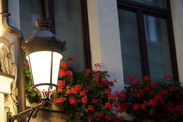 Wall Murals Flower shop Straatlamp met bloemen