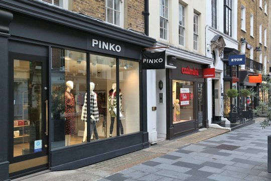LONDON, UK - JULY 6, 2016: Shops at New Bond Street in London. Bond Street is a major shopping street in the West End of London.