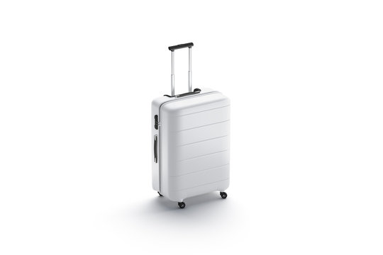 Blank white suitcase with handle mockup stand isolated
