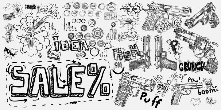 Comic bubbles speech cowboy pistol shot print. Text sound effect. Revolver and smoke after a shot. Bam cloud, pow sound. Humor design in pop art style.