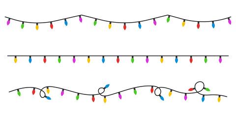 Christmas lights flat style. Vector