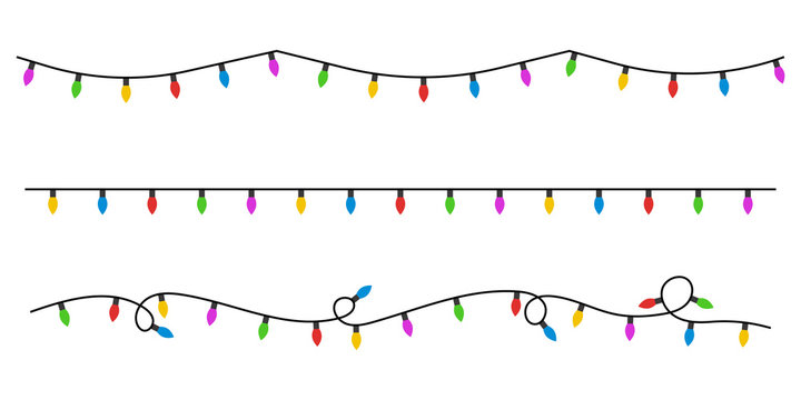 Christmas lights flat style. Vector