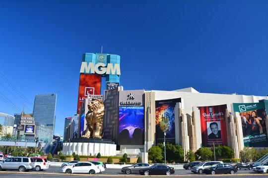 LAS VEGAS, USA - MARCH 19, 2018 : MGM Grand Hotel and Casino on Las Vegas boulevard (The Strip). Beautiful blue sky sunny weather.