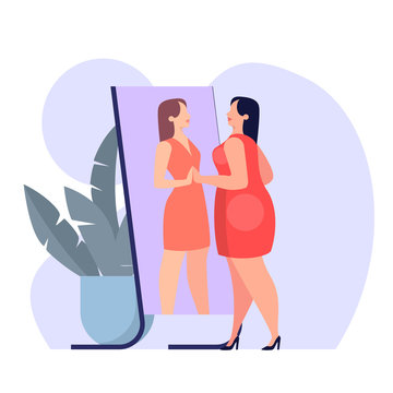 Fat woman in red dress looking at the mirror. Thin figure