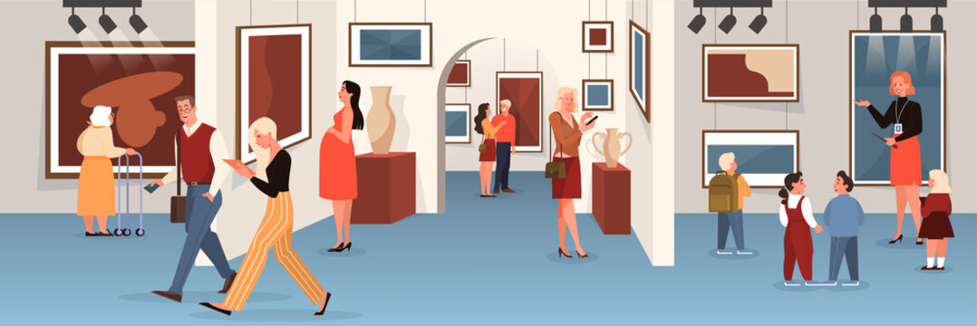 People in the museum. Art gallery interior. Picture on the wall