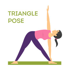 Yoga triangle pose. Exercise for body health and stretch