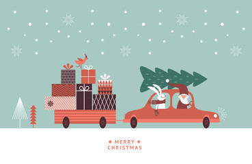 Christmas illustration. Santa and rabbit in knitted scarf are going by car and carry gifts and christmas tree