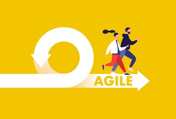 Agile development methodology icon vector illustration. Agile Life Cycle Icon Vector. People running to success. Flexible developing process logo. T-shirt print design.