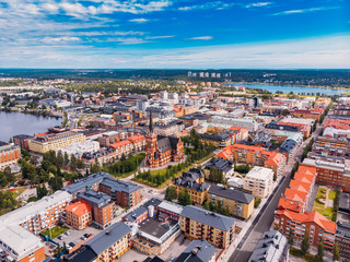 Lulea, Sweden - July 05, 2019: Panorama city, Cathedral sunny day, blue sky