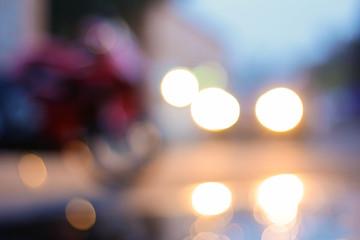 Beautiful blurred image with car headlights