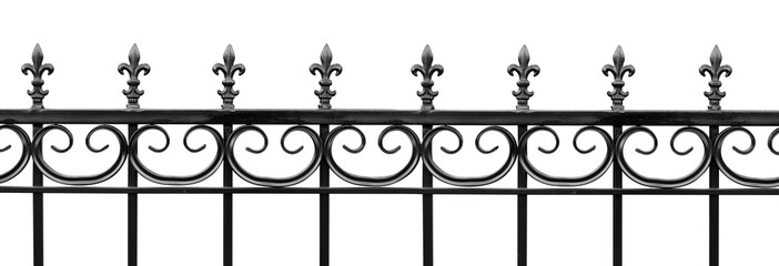 Black wrought iron front garden. Metal fence made of forged steel. Close up. Isolated on white background Fototapete
