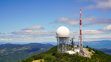 Meteorological and telecommunications equipment on Mount Vojak
