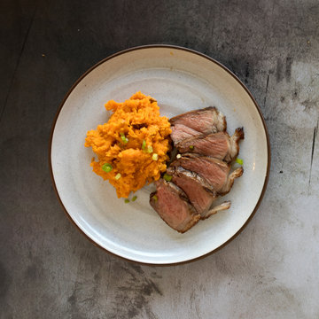 Steak and Mashed Sweet Potato