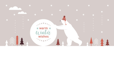 Big polar bear in knitted red hat rolls a big snowball, round frame for text, warm wishes, Christmas card