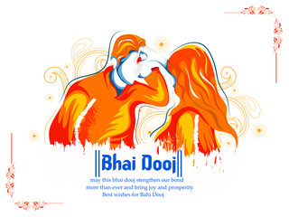 illustration of Indian family celebrating Bhai Dooj with creative tali during Happy Diwali festival background