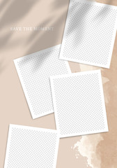 Template Poster for Social Networks Posts. Vector Collage with Photo Frames and Shadow Overlays on Old Paper Texture.