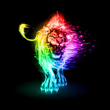 Abstract Illustration of Infuriated Lion with Fire Flames Fur in Rainbow Color on Black Background