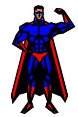 ヒーロー,筋肉,ボディビル,マッチョ,ポーズ,全身,マント,白背景,版画,切り絵,喜怒哀楽,表情