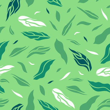 Seamless pattern with tea leaves. Flat style. Vector illustration.