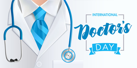 International doctors day greeting card design. Medical health care banner background with stethoscope and blue necktie. Vector illustration