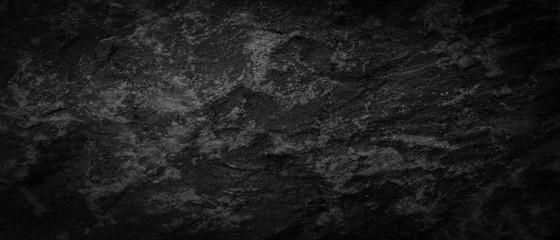 Wall Mural - Panorama dark gray black slate pattern texture background. Panoramic dark gray black slate texture surface
