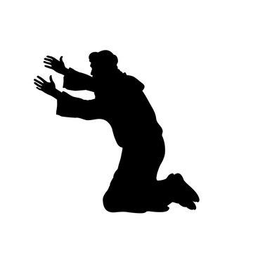 Silhouette man on his knees praying. Vector illustration