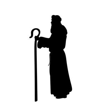 Holiday silhouettes christmas Nativity Shepherd. Vector illustration