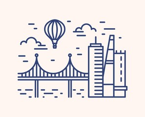 Fototapete - Monochrome outline cityscape with skyscrapers, bridge and hot air balloon flying in the sky. Linear urban picturesque scenery isolated on white background. Modern european view. Vector illustration.
