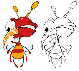 Photo sur Aluminium Chambre bébé Vector Illustration of a Cute Cartoon Character Bee for you Design and Computer Game. Coloring Book Outline Set