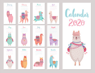 Fototapete - Calendar 2020 with Cute Llamas. Colorful alpacas.