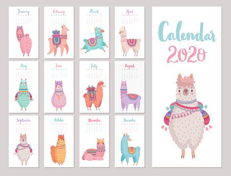 Calendar 2020 with Cute Llamas. Colorful alpacas.
