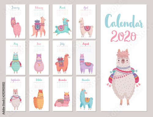 Wall mural Calendar 2020 with Cute Llamas. Colorful alpacas.