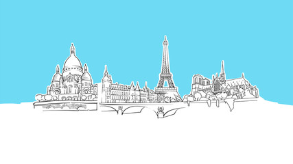 Paris Travel Landmarks Lineart Vector Sketch