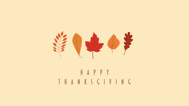 Thanskgiving card or website header vector template with collection of leaves, foliage in autumn colors - orange, red, yellow. Holiday banner, seasonal design.