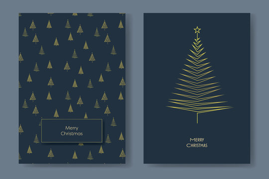 Two christmas card vector templates with gold glittery christmas trees with minimalist geometry shapes. Holiday season decoration.