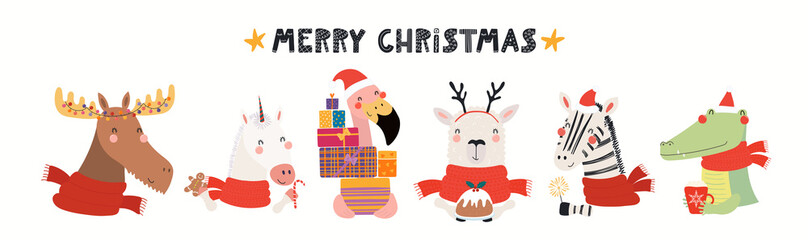 Hand drawn card with cute animals in Santa Claus hats, sparkler, gifts, ornaments, text Merry Christmas. Vector illustration. Isolated objects. Scandinavian style flat design. Concept kids print.
