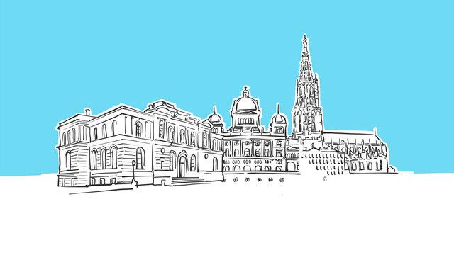 Bern Switzerland Lineart Vector Sketch