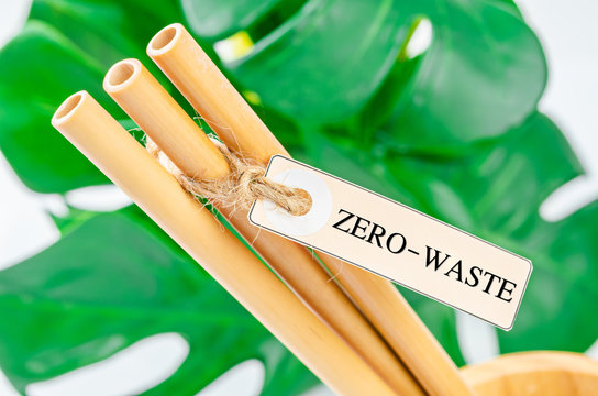 Bamboo drinking straws and green leaves with Zero - waste