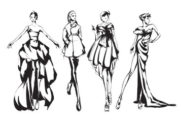 Wall Mural - Beautiful young womens. Hand drawn fashion girls. Fashion model posing. Sketch. Vector illustration set.