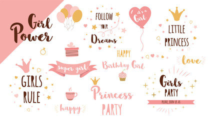 Girls party phrases set Funny quote Cute text Princess crown Pink girl birthday elements clipart