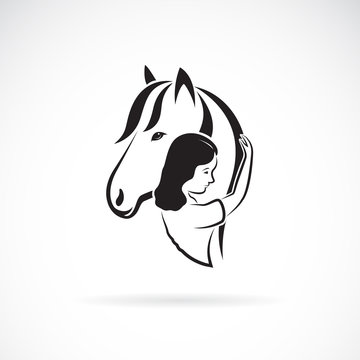 Vector silhouette of the horse and girl on white background. Expression of love and relationship., Easy editable layered vector illustration.
