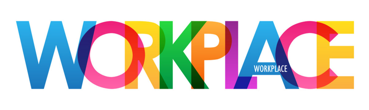 WORKPLACE colorful vector typography banner