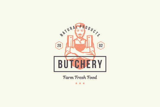 Hand drawn logo male butcher holding knifes silhouette and modern vintage typography retro style vector illustration.