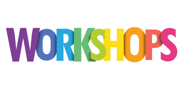 WORKSHOPS colorful gradient typography banner